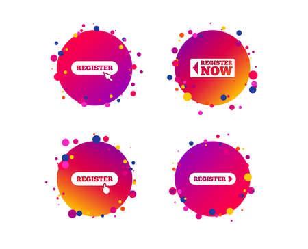 Registrieren Sie sich mit dem Handzeigersymbol. Mauszeigersymbol. Mitgliedschaftszeichen. Farbverlaufskreis-Schaltflächen mit Symbolen. Zufälliges Punktdesign. Vektor