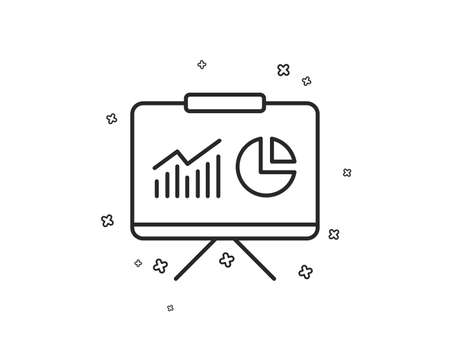 Presentation board line icon. Report chart or Sales growth sign. Analysis and Statistics data symbol. Geometric shapes. Random cross elements. Linear Presentation icon design. Vector