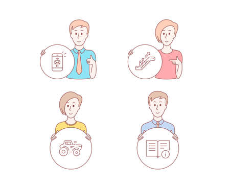 People hand drawn style. Set of Mail, Escalator and Tractor icons. Technical info sign. Smartphone communication, Elevator, Farm transport. Documentation.  Character hold circle button. Vector Ilustração