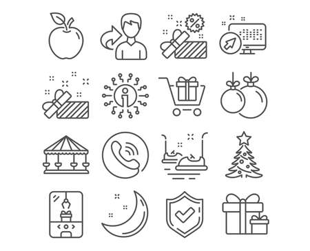 Set of Sale, Christmas ball and Surprise package icons. Shopping cart, Christmas tree and Crane claw machine signs. Bumper cars, Carousels and Present symbols. Gift box, Decoration, Present boxes Illustration