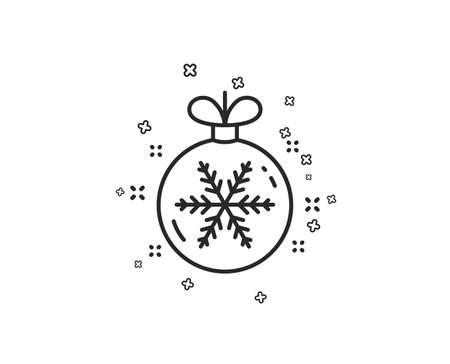 Christmas ball with snowflake line icon. New year tree decoration sign. Geometric shapes. Random cross elements. Linear Christmas ball icon design. Vector Illustration