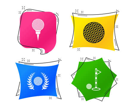 Golf ball icons. Laurel wreath winner award sign. Luxury sport symbol. Geometric colorful tags. Banners with flat icons. Trendy design. Vector