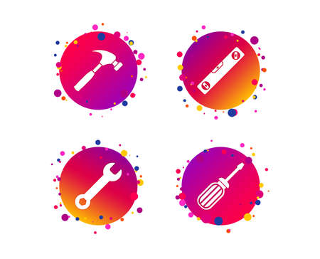 Screwdriver and wrench key tool icons. Bubble level and hammer sign symbols. Gradient circle buttons with icons. Random dots design. Vector
