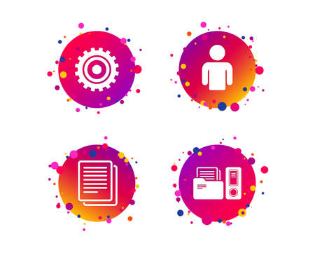 Accounting workflow icons. Human silhouette, cogwheel gear and documents folders signs symbols. Gradient circle buttons with icons. Random dots design. Vector Stock Vector - 125561585