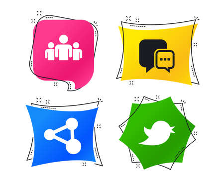 Social media icons. Chat speech bubble and Bird chick symbols. Human group sign. Geometric colorful tags. Banners with flat icons. Trendy design. Vector