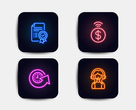 Neon glow lights. Set of Update time, Contactless payment and Certificate icons. Support sign. Refresh watch, Financial payment, Verified document. Call center.  Neon icons. Glowing light banners Illustration