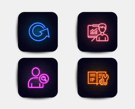 Neon glow lights. Set of Find user, Presentation and Reload icons. Engineering documentation sign. Search person, Education board, Update. Manual.  Neon icons. Glowing light banners. Vector Illustration