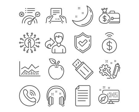 Set of Headphones, Receive file and File icons. Usb flash, Engineering and Contactless payment signs. Correct answer, Salary and Trade infochart symbols. Earphones, Hold document, Paper page. Vector