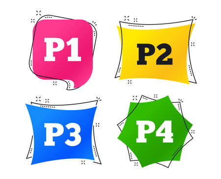 Car parking icons. First, second, third and four floor signs. P1, P2, P3 and P4 symbols. Geometric colorful tags. Banners with flat icons. Trendy design. Vector