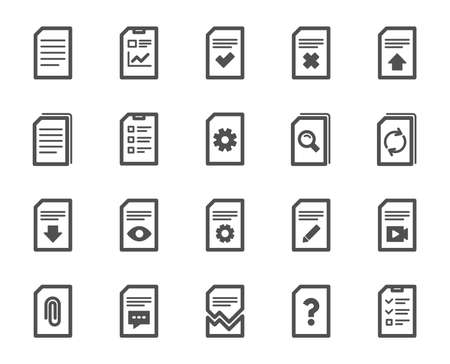 Document Management icons. Set of Report, Checklist and Copy icons. Download file, Remove and Attach clip symbols. Search, Edit management document and Corrupt report file. Checklist copy. Vector Vecteurs