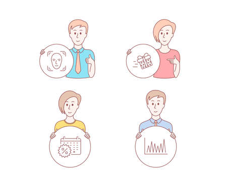 People hand drawn style. Set of Face detection, Calendar discounts and Present delivery icons. Line graph sign. Detect person, Shopping, Shopping service. Market diagram.  Character hold circle button Illustration