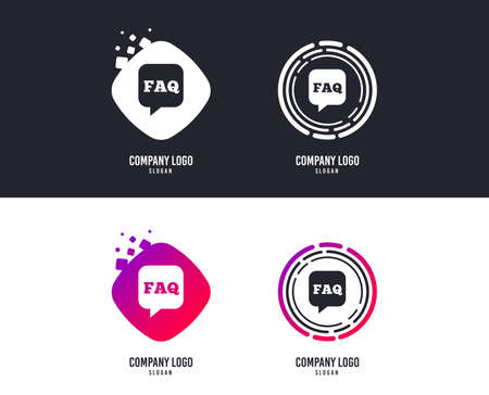 FAQ information sign icon. Help speech bubble symbol.  Colorful buttons with icons. Vector