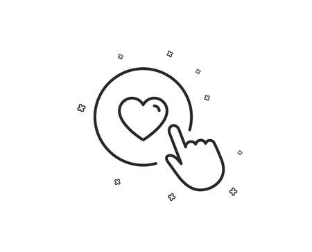Click like line icon. Love button symbol. Valentines day sign. Geometric shapes. Random cross elements. Linear Like button icon design. Vector