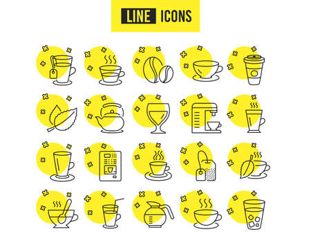 Coffee and Tea line icons. Set of Cappuccino, Juice with ice and Latte signs. Teapot, Coffeepot and Hot drink with Steam. Mint leaf, Herbal beverage and Vending symbols. Quality futuro design icons