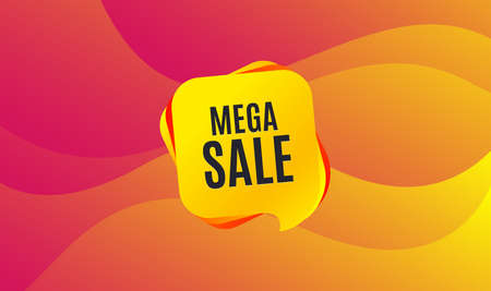 Mega Sale. Special offer price sign. Advertising Discounts symbol. Wave background. Abstract shopping banner. Template for design. Vector