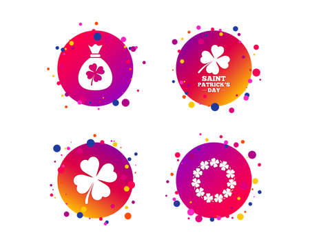 Saint Patrick day icons. Money bag with clover sign. Wreath of quatrefoil clovers. Symbol of good luck. Gradient circle buttons with icons. Random dots design. Vector