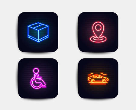 Neon glow lights. Set of Delivery box, Disabled and Location icons. Car sign. Cargo package, Handicapped wheelchair, Map pointer. Transport.  Neon icons. Glowing light banners. Vector