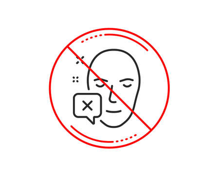 No or stop sign. Face declined line icon. Human profile sign. Facial identification error symbol. Caution prohibited ban stop symbol. No  icon design.  Vector Illustration