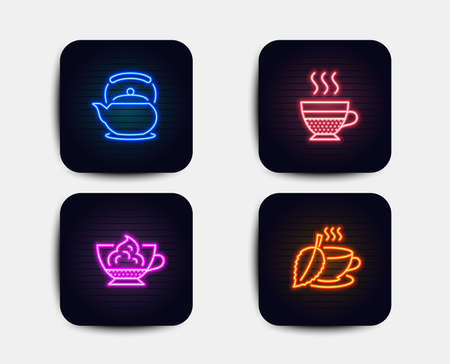 Neon glow lights. Set of Teapot, Espresso cream and Cafe creme icons. Mint tea sign. Tea kettle, Cafe con panna, Hot coffee. Mentha beverage.  Neon icons. Glowing light banners. Vector Banque d'images - 116304081
