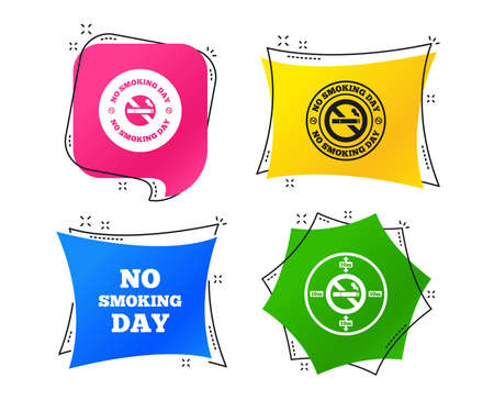 No smoking day icons. Against cigarettes signs. Quit or stop smoking symbols. Geometric colorful tags. Banners with flat icons. Trendy design. Vector Illustration