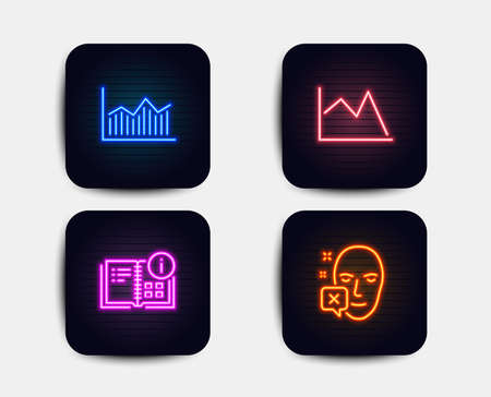 Neon set of Instruction info, Line chart and Money diagram icons. Face declined sign. Project, Financial graph, Currency diagram. Identification error. Neon icons. Glowing light banners Illustration
