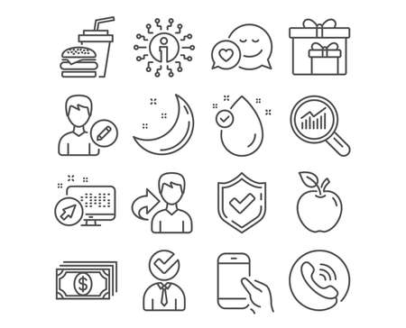 Set of Dating, Hamburger and Vacancy icons. Delivery boxes, Vitamin e and Payment signs. Data analysis, Edit person and Hold smartphone symbols. Love messenger, Burger with drink, Businessman concept Banque d'images - 125563544