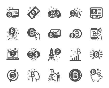 Cryptocurrency icons. Set of Blockchain, Crypto ICO start up and Bitcoin icons. Mining, Cryptocurrency exchange, gold pickaxe. Bitcoin ATM, crypto coins, financial ico markets, blockchain. Vector Illustration