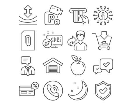 Set of Approve, Cashback and Support service icons. Attachment, Credit card and Resilience signs. Shopping, Parking garage and Parking security symbols. Vector Ilustracja