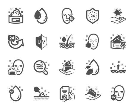 Skin care cosmetic icons. Cream, Serum drop and Face gel or lotion icons. Uv protection. Oil, Vitamin E and Collagen symbols. 24 hour face care cream protection. Medical skin cosmetic. Vector