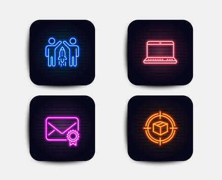Neon glow lights. Set of Partnership, Notebook and Verified mail icons. Parcel tracking sign. Business startup, Laptop computer, Confirmed e-mail. Box in target.  Neon icons. Glowing light banners