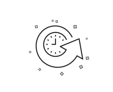 Update time line icon. Refresh watch sign. Geometric shapes. Random cross elements. Linear Update time icon design. Vector