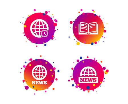 News icons. World globe symbols. Open book sign. Education literature. Gradient circle buttons with icons. Random dots design. Vector