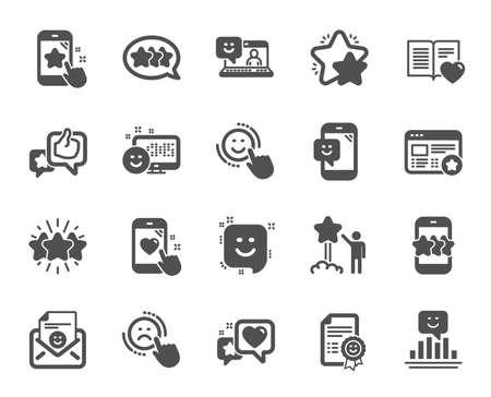 Ikony opinii. Zestaw ikon opinii użytkownika, obsługi klienta i gwiazdek. Referencje, Pozytywne negatywne emocje, Zadowolenie Klienta. Informacje zwrotne w mediach społecznościowych, technologia oceny gwiazdek. Wektor