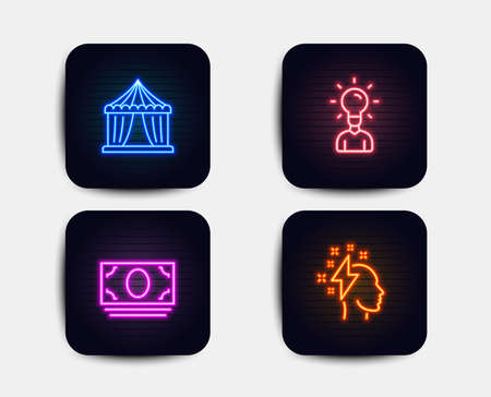 Neon glow lights. Set of Circus tent, Cash money and Education icons. Brainstorming sign. Attraction park, Banking currency, Human idea. Lightning bolt.  Neon icons. Glowing light banners. Vector Illustration