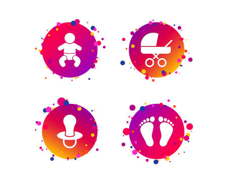 Baby infants icons. Toddler boy with diapers symbol. Buggy and dummy signs. Child pacifier and pram stroller. Child footprint step sign. Gradient circle buttons with icons. Random dots design. Vector 向量圖像