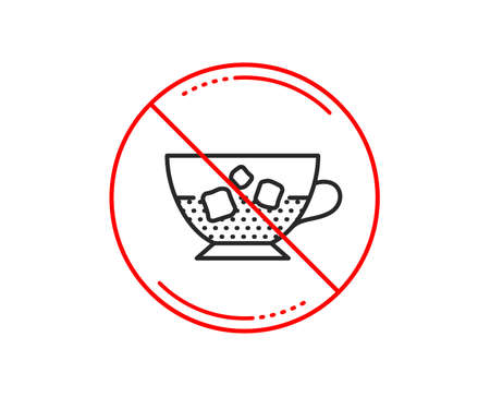 No or stop sign. Coffee with ice icon. Cold drink sign. Beverage symbol. Caution prohibited ban stop symbol. No  icon design.  Vector