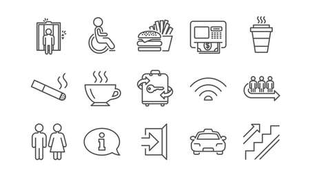 Public services line icons. Elevator, Taxi and Wifi internet. Fast food linear icon set.  Vector