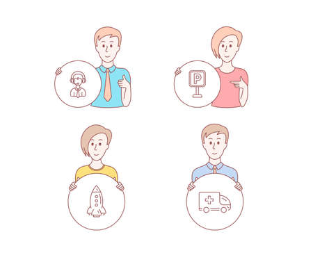 People hand drawn style. Set of Rocket, Shipping support and Parking icons. Ambulance emergency sign. Spaceship, Delivery manager, Auto park. Medical transport.  Character hold circle button. Vector Archivio Fotografico - 116304663