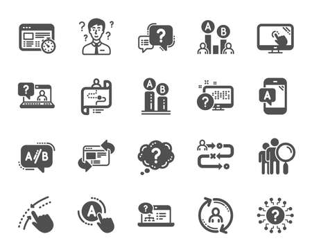 UX icons. Set of AB testing, Journey path map and Question mark icons. Usability quiz test, Ux Ui and User flow. Project process, ab testing graph, survey test results. Quiz question. Vector