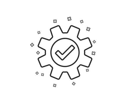 Cogwheel line icon. Approved Service sign. Transmission Rotation Mechanism symbol. Geometric shapes. Random cross elements. Linear Service icon design. Vector