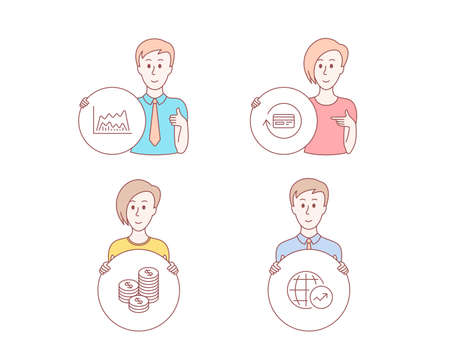 People hand drawn style. Set of Refund commission, Coins and Trade chart icons. World statistics sign. Cashback card, Cash money, Market data. Global report.  Character hold circle button. Vector