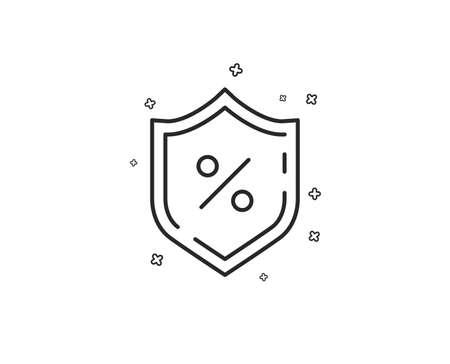 Loan percent line icon. Protection shield sign. Credit percentage symbol. Geometric shapes. Random cross elements. Linear Loan percent icon design. Vector Foto de archivo - 125563609