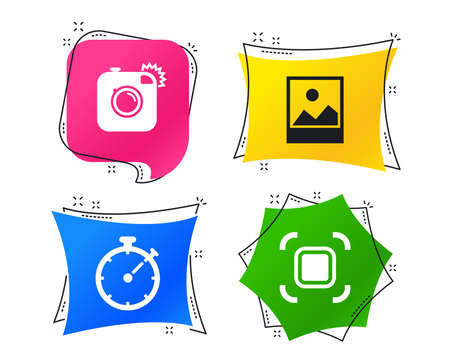 Hipster retro photo camera icon. Autofocus zone symbol. Stopwatch timer sign. Landscape photo frame. Geometric colorful tags. Banners with flat icons. Trendy design. Vector