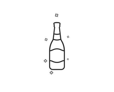 Beer bottle line icon. Pub Craft beer sign. Brewery beverage symbol. Geometric shapes. Random cross elements. Linear Beer bottle icon design. Vector Illustration