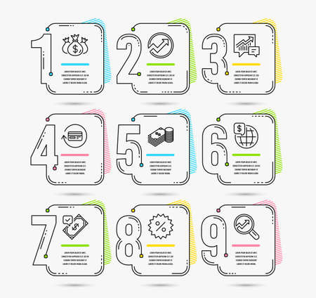 Infographic template with numbers 9 options. Set of Discount, Accepted payment and Savings icons. Refund commission, Check investment and Audit signs. Accounting, World money and Analytics symbols Illusztráció
