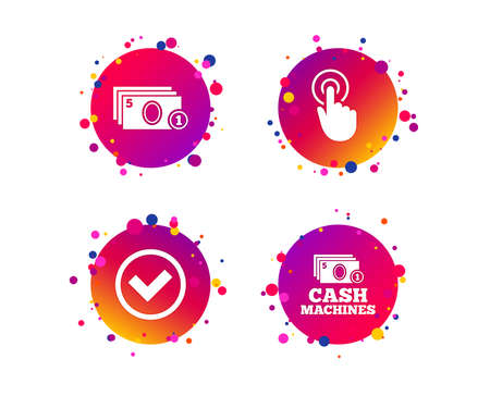 ATM cash machine withdrawal icons. Click here, check PIN number, processing and cash withdrawal symbols. Gradient circle buttons with icons. Random dots design. Vector Çizim