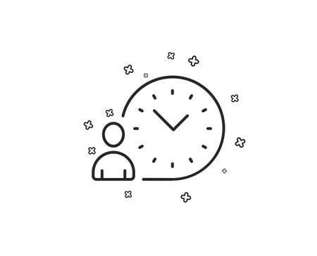 Time management line icon. Clock sign. Geometric shapes. Random cross elements. Linear Time management icon design. Vector