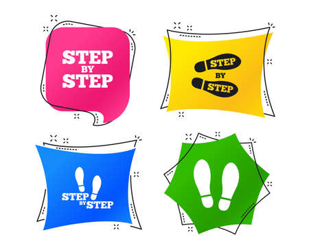 Step by step icons. Footprint shoes symbols. Instruction guide concept. Geometric colorful tags. Banners with flat icons. Trendy design. Vector