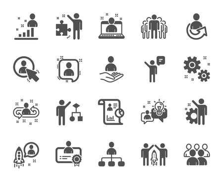 Icone di gestione. Set di controllo aziendale, strategia di avvio e icone dei dipendenti. Strategia aziendale, avvio e lavoro di squadra. Gestione dell'organizzazione, report e algoritmo di gruppo. Lavoro da dipendente. Vettore