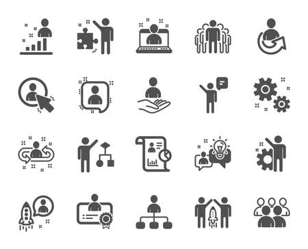 Management icons. Set of Business audit, Startup strategy and Employee icons. Business strategy, Startup and Teamwork. Organization management, report and group algorithm. Employee job. Vector